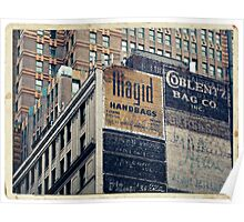 Handpainted mural advertisements of the 1940s in Manhattan, NYC - Kodachrome Postcard  Poster