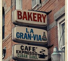Bakery / Cafe Espresso La Gran Via - Store sign in Sunset Park, Brooklyn, NYC  by Reinvention