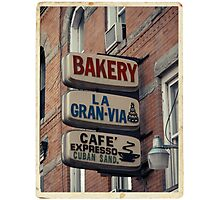 Bakery / Cafe Espresso La Gran Via - Store sign in Sunset Park, Brooklyn, NYC  Photographic Print