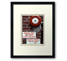 Vintage Sprinkler Alarm in the streets of NYC Framed Print