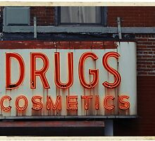 Drugstore Neon Sign in the East Village - Kodachrome Postcards  by Reinvention