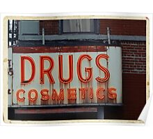 Drugstore Neon Sign in the East Village - Kodachrome Postcards  Poster