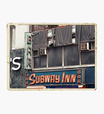 Subway Inn Bar neon sign in Manhattan, NYC - Kodachrome Postcards Photographic Print