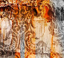 Bark with abstract paintings by Joshua Rablin