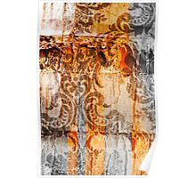 Bark with abstract paintings Poster