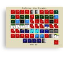 Periodic table of Formula 1 World Champions 1950 - 2014 Canvas Print