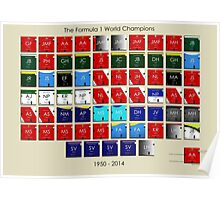 Periodic table of Formula 1 World Champions 1950 - 2014 Poster