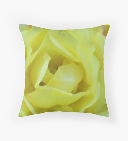 YELLOW CREAM ROSE IMPRESSION Throw Pillow