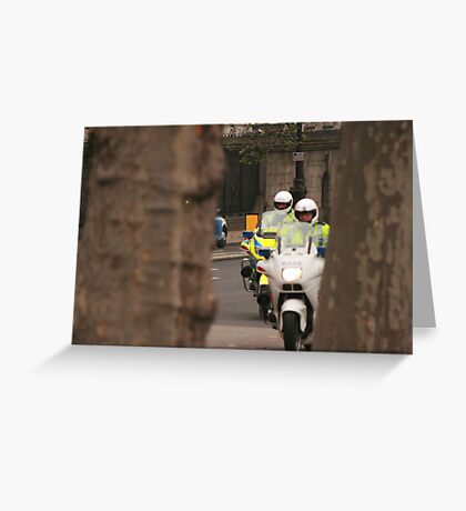 The cops, framed. Greeting Card