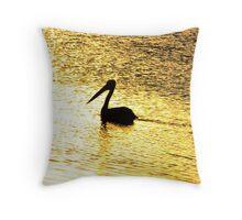 Golden Pelican Throw Pillow