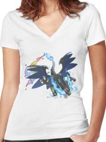 Mega Charizard X Women's Fitted V-Neck T-Shirt