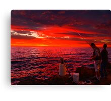Sun Gone, Gone Fishing Canvas Print