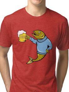 Retro Fishing and Beer T Shirt Tri-blend T-Shirt