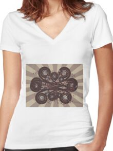 Dark brown ornament Women's Fitted V-Neck T-Shirt