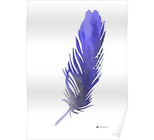 Feather silhouette watercolor art print poster Poster