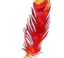Red abstract feather large poster by Joanna Szmerdt
