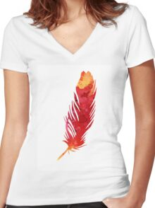 Red abstract feather large poster Women's Fitted V-Neck T-Shirt