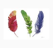 Feathers silhouette painting watercolor art print T-Shirt