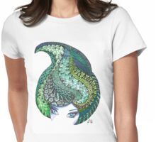 Zentangle and watercolor head Womens Fitted T-Shirt