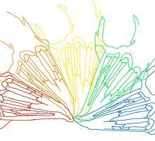 Rainbow Rabbit Skull by weedollybird