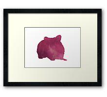 Hamster silhouette watercolor art print painting Framed Print