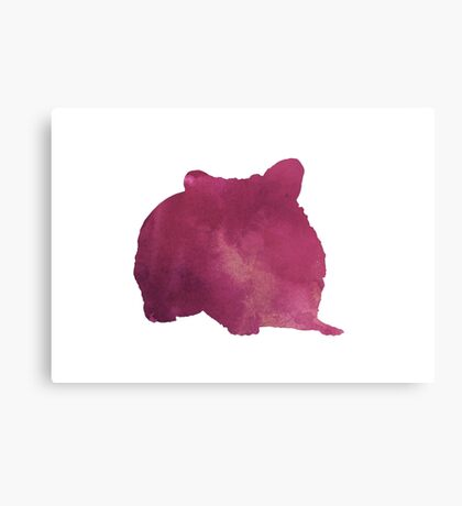 Hamster silhouette watercolor art print painting Canvas Print