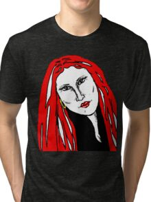 Beautiful Woman Red For Love Tri-blend T-Shirt