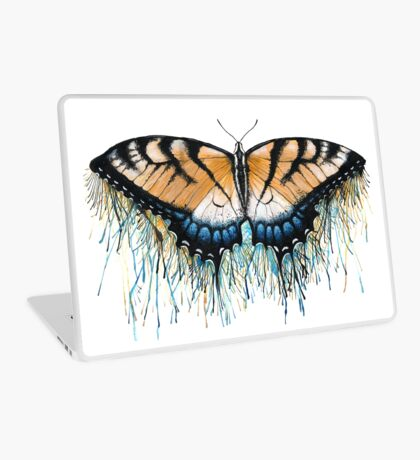 Drip Dry Beauty - Swallowtail Butterfly with Paint Drips Laptop Skin