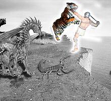 Man vs Beast Symbolic Self Portrait by Kory Richardson