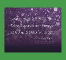 Snowflakes Drifting down haiku, purple texture Kids Tee
