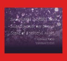 Snowflakes Drifting down haiku, purple texture One Piece - Long Sleeve