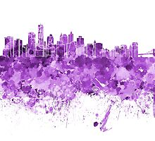 New York skyline in purple watercolor on white background by paulrommer
