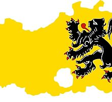 Flag Map of Belgium's Flander Region  by abbeyz71