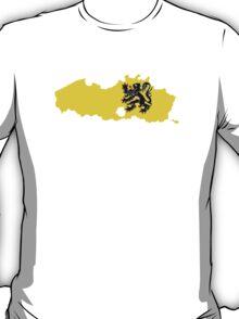 Flag Map of Belgium's Flander Region  T-Shirt