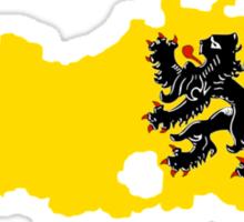 Flag Map of Belgium's Flander Region  Sticker