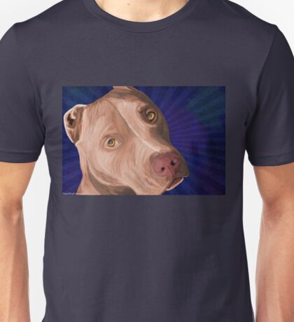 Red Nose Pit Bull Painted on Blue Background Unisex T-Shirt