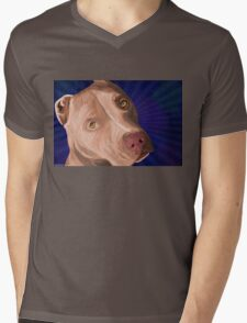 Red Nose Pit Bull Painted on Blue Background Mens V-Neck T-Shirt