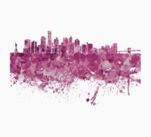 New York skyline in pink watercolor on white background Kids Clothes