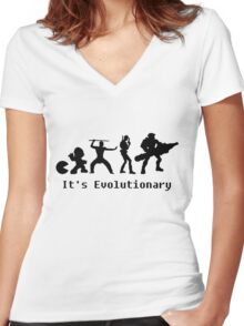 It's Evolutionary (with text) Women's Fitted V-Neck T-Shirt