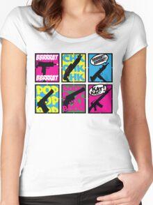 COMIC BOOK GUN SOUNDS Women's Fitted Scoop T-Shirt