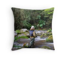 flyfishing the rainforest Throw Pillow