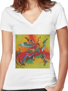 """""""Intrepid"""" original abstract artwork Women's Fitted V-Neck T-Shirt"""