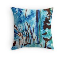 Turquoise Forest Throw Pillow