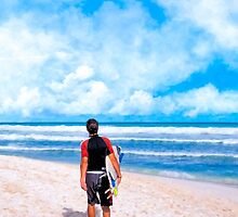 Surfer Gazing At The Horizon at Playa del Carmen by Mark Tisdale