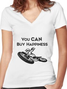 You CAN buy happiness- Motorcycle Women's Fitted V-Neck T-Shirt