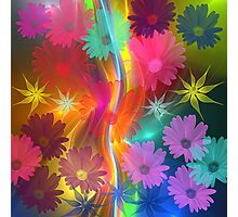 Whimsical flowers on an abstract background Photographic Print