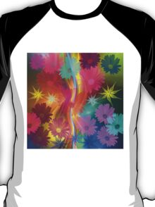 Whimsical flowers on an abstract background T-Shirt