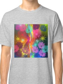 Whimsical flowers on an abstract background Classic T-Shirt
