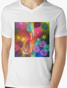 Whimsical flowers on an abstract background Mens V-Neck T-Shirt