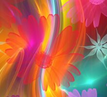 Whimsical flowers on an abstract background Sticker